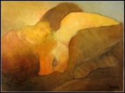 tableau personnages jeune femme fourure : Jeune femme à la fourure