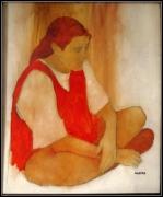 tableau scene de genre fille chasuble jeune : fille en chasunle rouge