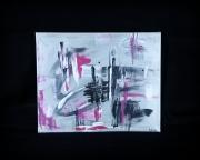 tableau abstrait rose gris blanc noir : D