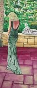 tableau scene de genre femme sculpture robe verte solitude : Femme seule