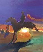 tableau scene de genre cowboy cheval soleil couchant country : Cow boy au soleil couchant