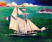tableau marine fregate bateau mer equipage : Frégate française