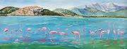 tableau animaux flamants roses littoral etang mer : Flamants roses