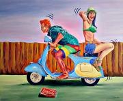 tableau personnages vespa trip cyclomoteur : Virée en Vespa