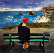 tableau paysages solitude seul banc bord de mer : Solitude