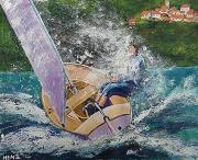tableau marine bateau deriveur mer sport nautique : Dériveur