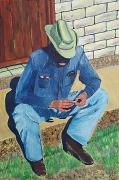 tableau scene de genre cowboy cigarette country chapeau : Cowboy assis