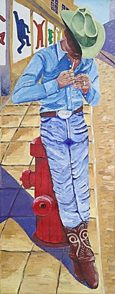 TABLEAU PEINTURE cowboy New York country ville Scène de genre Acrylique  - Cowboy à New York