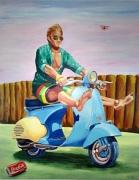 tableau personnages vespa : L'homme à la Vespa