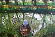tableau paysages marais poidevin pecheur eau poisson : Pêcheur dans le Marais Poidevin