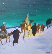 tableau personnages caravane desert rois mages chameau : Caravane
