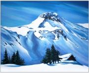 tableau paysages montagne paysage neige chalet : AU PIED DES CIMES