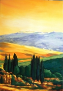 tableau paysages toscane paysage cypres italie : AURORE TOSCANE