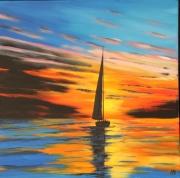 tableau marine coucher de soleil mer voilier ciel : COUCHANT AU VOILIER