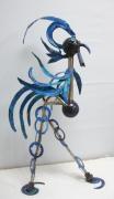 sculpture animaux coq metal sculpture animaux : Le coq bleue