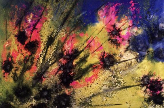 TABLEAU PEINTURE acrylique tableau toile fleurs Fleurs Acrylique  - Floraison