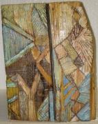 sculpture abstrait printemps bois sculpture peinture : Le printemps
