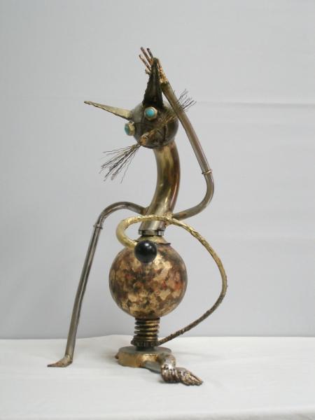 SCULPTURE chat metal animaux sculpture Animaux Assemblage Métal  - Le greffier