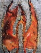 tableau autres volcan toile peinture feu : Magma