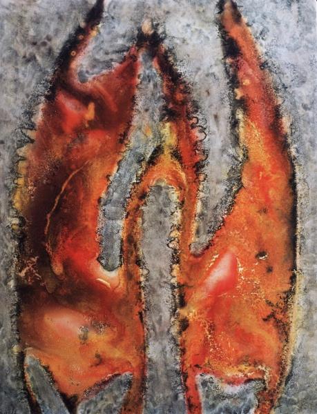 TABLEAU PEINTURE volcan toile peinture feu Acrylique  - Magma