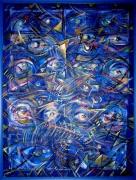 tableau abstrait couleurs yeux all over : Optique