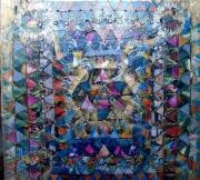 tableau abstrait marouflage collage geometrique : Irradiant