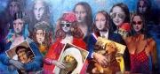 tableau personnages joconde marouflage collage humour : Les Jocondes