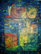 tableau abstrait abstrait tempera couleurs : Spiralé