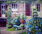 tableau fleurs hortensias maison fleurs campagne : La maison et ses hortensias