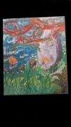 tableau paysages menhir foret fleur riviere : Menhir dissimulé dans la foret