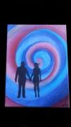 tableau personnages spirale couple silhouette ombre : Pas sages amoureux...