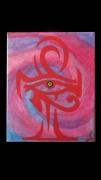 tableau abstrait spirale croix de vie oeil rouge : Ankh-or