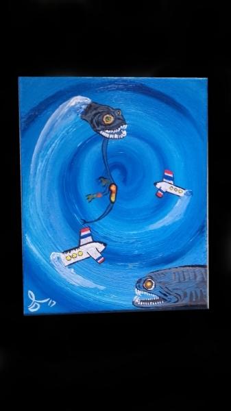 TABLEAU PEINTURE bleu Bermudes mystères spirale Abstrait Acrylique  - Le mystère des Bermudes