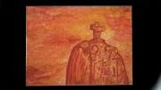 tableau paysages menhir bretagne chritianiser ocres : Le menhir de St Uzec