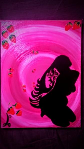 TABLEAU PEINTURE Femme ençeinte Grossesse Envies Fraises Abstrait Peinture a l'huile  - Stawberries wich