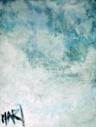 tableau abstrait art abstrait huile sur toile bleu blanc artiste : air