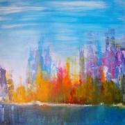 tableau abstrait bleu astrait peinture toile : CRASH