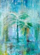 tableau abstrait palmier peinture huile artiste : SOUED