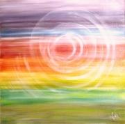 tableau abstrait rouge abstrait peinture huile : SPIROIDAL