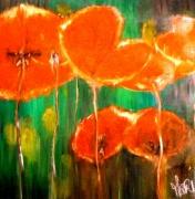 tableau fleurs fleur art peinture huile sur toile : RED FLOWERS