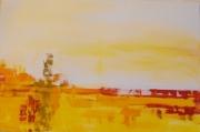 tableau abstrait jaune abstrait peinture toile : osana