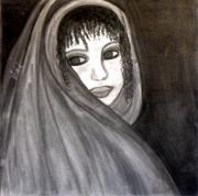 tableau personnages fusain toile portrait artiste : LA FILLE