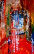 tableau abstrait portrait abstrait artiste peintre huile sur toile : koeno