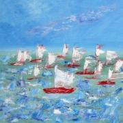 tableau marine voiles vent voiliers danse : Flotille