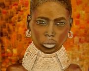 tableau personnages senegal dakar femme cauris : SENEGALAISE AU COLLIER
