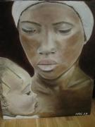 tableau personnages senegal dakar femme bebe : SENEGALAISE ET SON BEBE