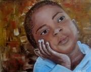 tableau personnages senegal saly enfant afrique : ENFANT DU SENEGAL