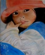 tableau personnages perou enfant indienne portrait : ENFANT PEROUANAISE