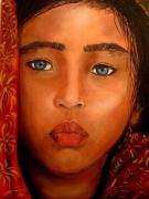 tableau personnages senegal dakar enfant kabil : JEUNE FILLE KABIL