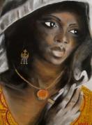 tableau personnages senegal bijoux femme afrique : SENEGALAISE AUX BIJOUX